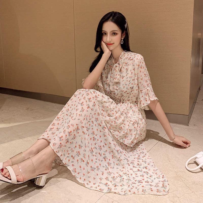 Summer New Mid-length Gentle Lace-up Floral-Print Chiffon Dress Bell Sleeve Irregular Slimming Ladies' A- Line Skirt