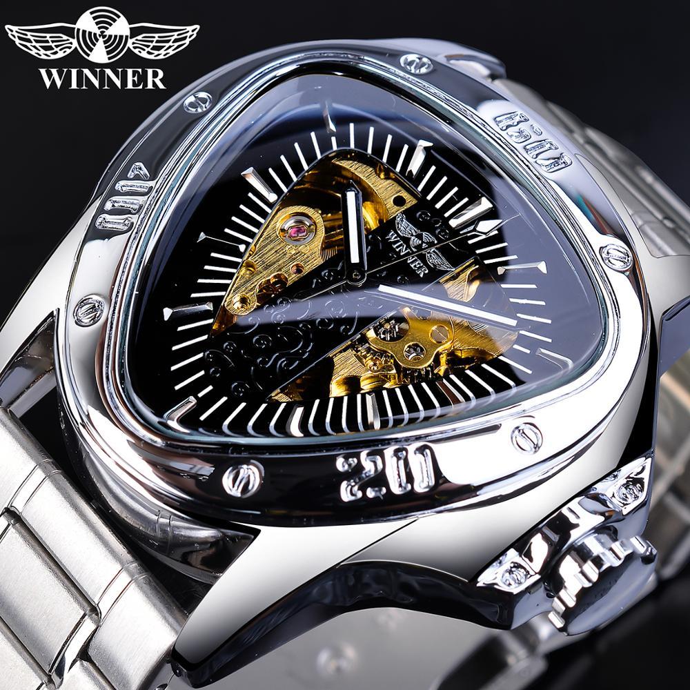 Kazanan Pilot Sport mekanik İzle erkekler üst marka lüks erkek otomatik saatler gümüş paslanmaz çelik üçgen kol saati