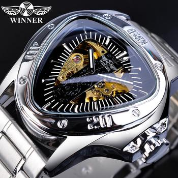 цена на Winner Pilot Sport Mechanical Watch For Men Top Brand Luxury Man Automatic Watches Silver Stainless Steel Triangle Wrist Watch