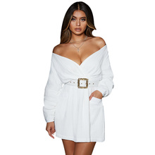 Elegant Long Sleeve High Waist A Line Dress Women Deep V-neck Pockets White Dresses Summer Beach Vintage Solid Cloth With Belt