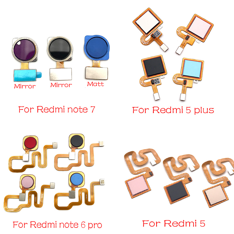 New Fingerprint Sensor Scanner Touch ID Home Button Return Flex Cable For Xiaomi Redmi Note 6 7 Pro / Redmi 5 Plus Ribbon
