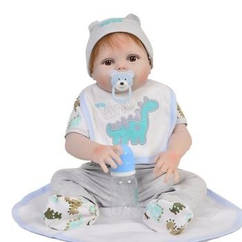 White skin bebe reborn boy Full Body Silicone Reborn Baby Doll Toy Newborn baby live Toddler Doll Child Bathe Toy bonecas lol