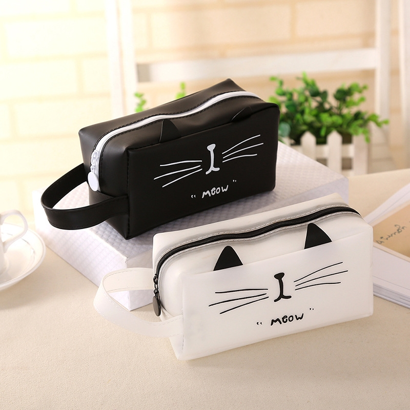Simple Fashio Zipper Cartoon Cat Plastic Cem Square Pencil Case Gift Pencil Box Pencilcase Pencil Bag School Supplies Stationery
