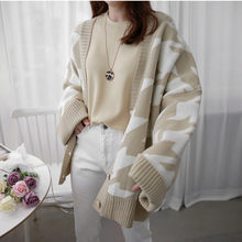 Spot qiu dong thickening cardigan Korea plover case sweater cashmere sweet loose design wool sweater(China)