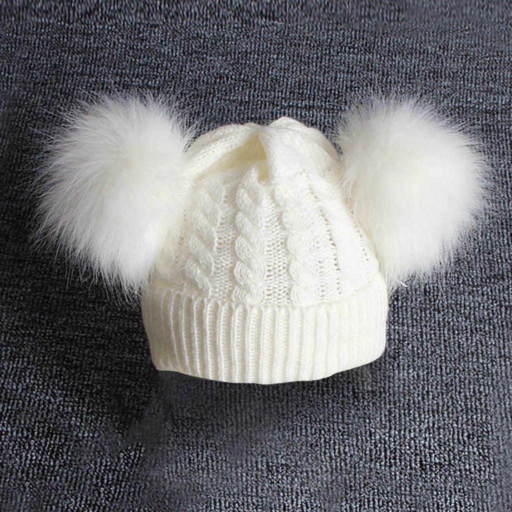 Niños invierno cálido niños bebé tejer lana Hemming sombrero mantener caliente invierno Hiarball piel bola gorra Babys accesorios beanie
