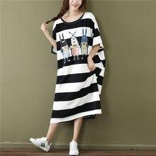Gestreepte T-shirt Vrouwen Korte Mouwen 200 Kg Zomer Jurk Nieuwe Cartoon Vet Mm Koreaanse Versie Losse Mid-lengte Over-De-Knie Jurk