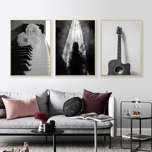 Image 4 - Black and White Canvas Art Flower Picture Abstract Modern Painting Poster Living Room Painting Black White Landscape Unframed