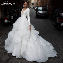 Bride-Gown Wedding-Dress Long-Sleeve Court-Train Romantic Ruffles Princess Plus-Size