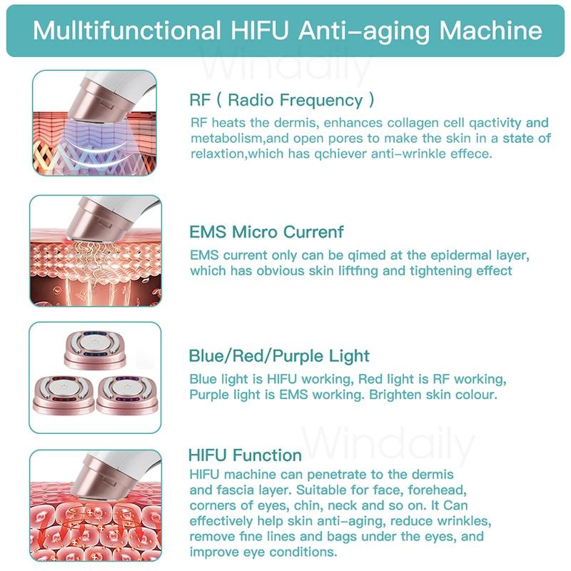 Mini HIFU Machine Ultrasound RF EMS Facial Beauty Device Face  Massager Neck Lifting Tightening Rejuvenation  Skin Care Product 6