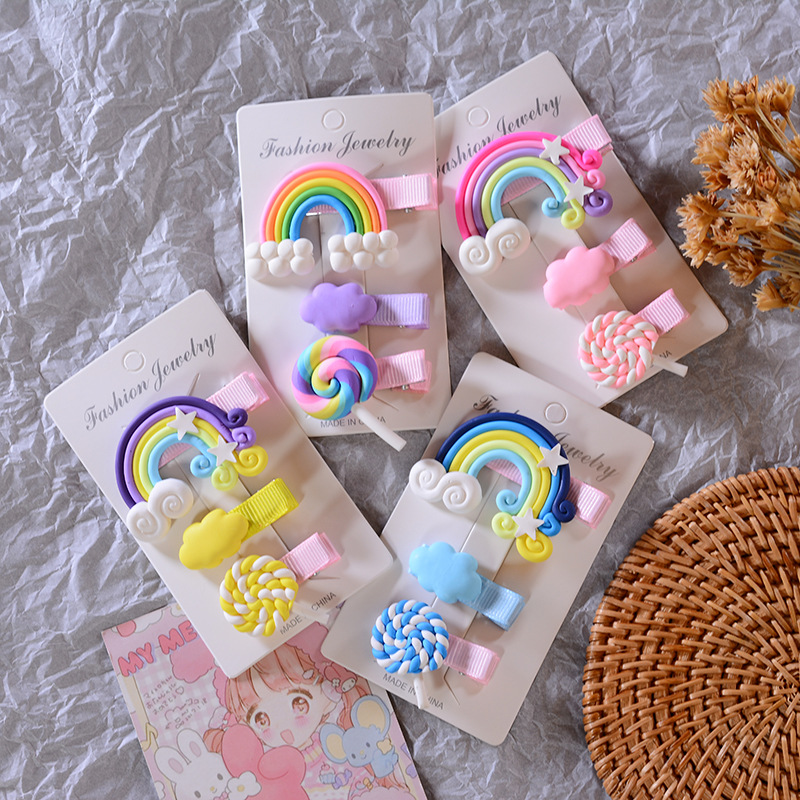 3pc/set Cute Girl Cloud Lollipop Rainbow Hairpins Cartoon Bobby Pin Hair Clips for Girls Children Headband Kids Accessories