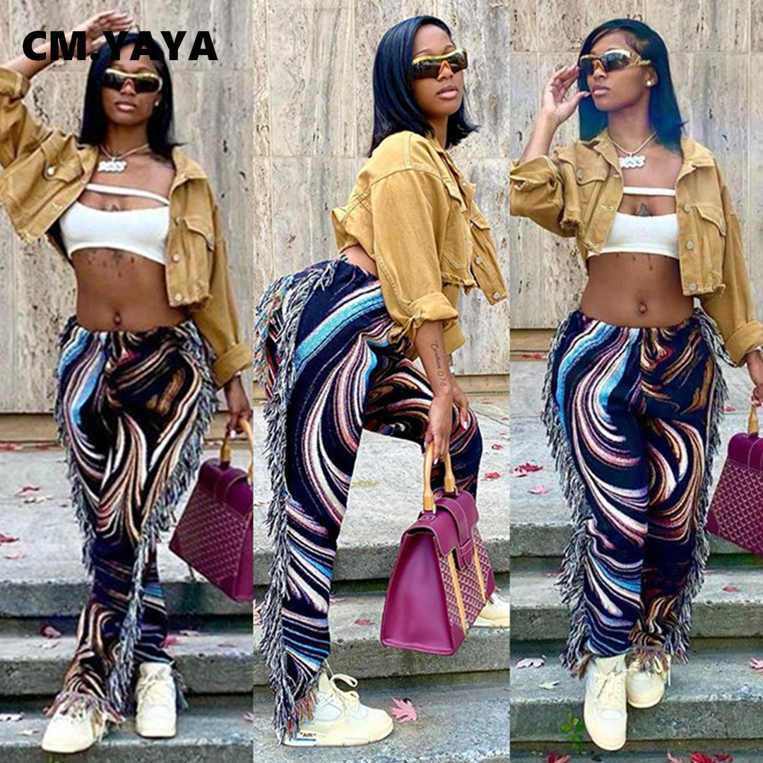 CM.YAYA Autumn Spring Women Pants High Waist Activewear Pencil Trousers Sporty Print Tassel Jogger Pants Sweatpants