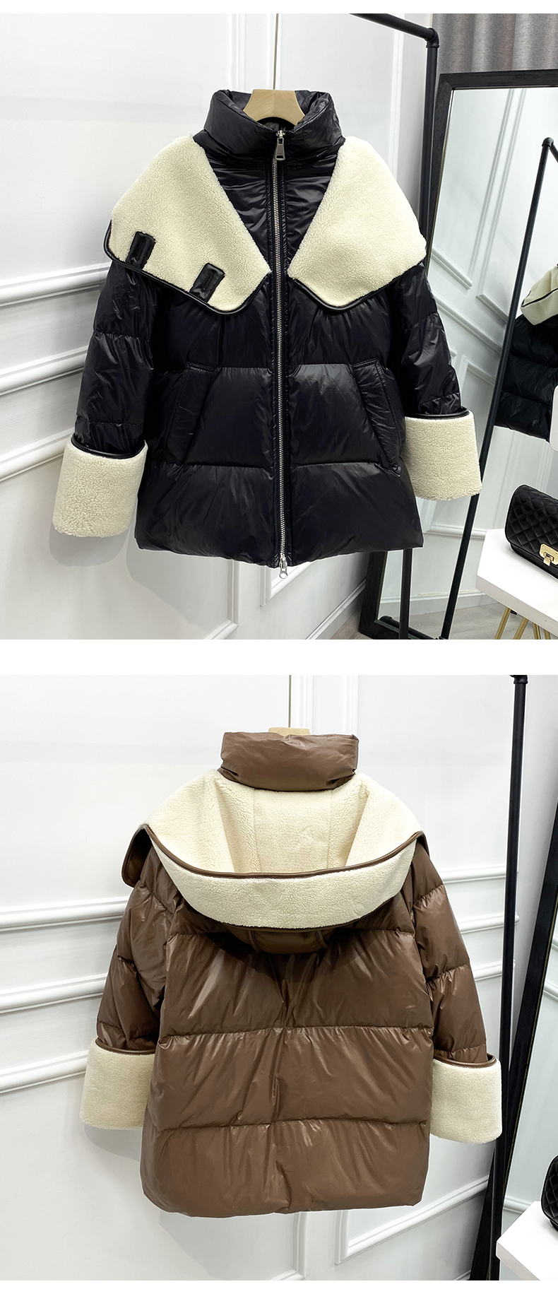 2021 winter new down jacket women new fashion mid-length loose and thin lamb hair stitching white duck down long-sleeved jacket