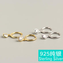 Fashion Populer S925 Sterling Silver Anting-Anting Cincin Sederhana Liar Set Single Grain Putaran Putih Zirkon Telinga Klip Brincos(China)