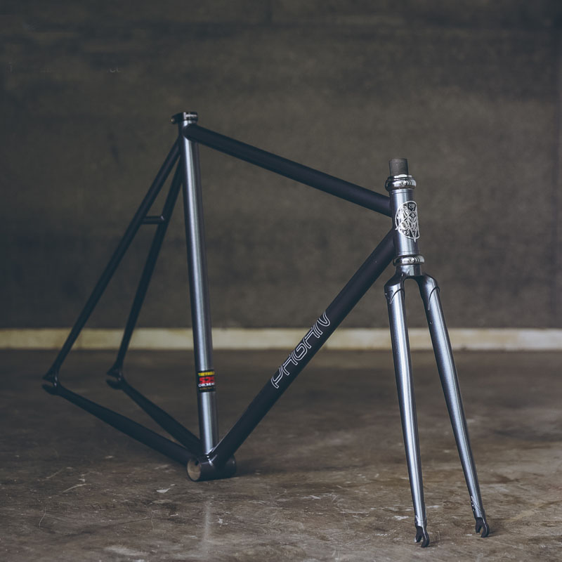 fixie <font><b>bike</b></font> <font><b>frame</b></font> 525 pipe Chrome molybdenum <font><b>steel</b></font> Reynolds one speed fixed gear <font><b>bike</b></font> <font><b>frame</b></font> customize bicycle 50cm 53cm 55cm image