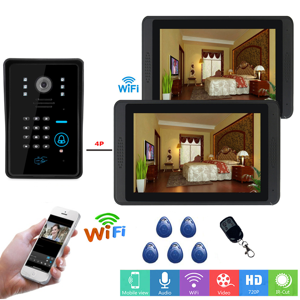 SmartYIBA  APP Remote Unlock Video Intercom 7 Inch LCD Wifi Wireless Video Door Phone Doorbell RFID Password Camera Intercom KIT