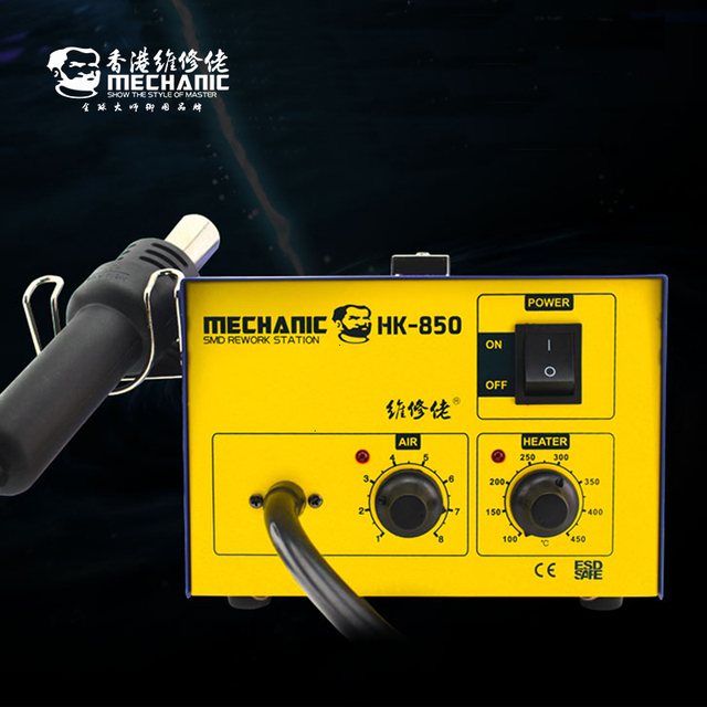 MECHANIC Smd Hot Air Rework Station HK850 Air Pump Type Hot Air Gun Ceramic Heat Core Industrial Wind Gun Blowing Heater