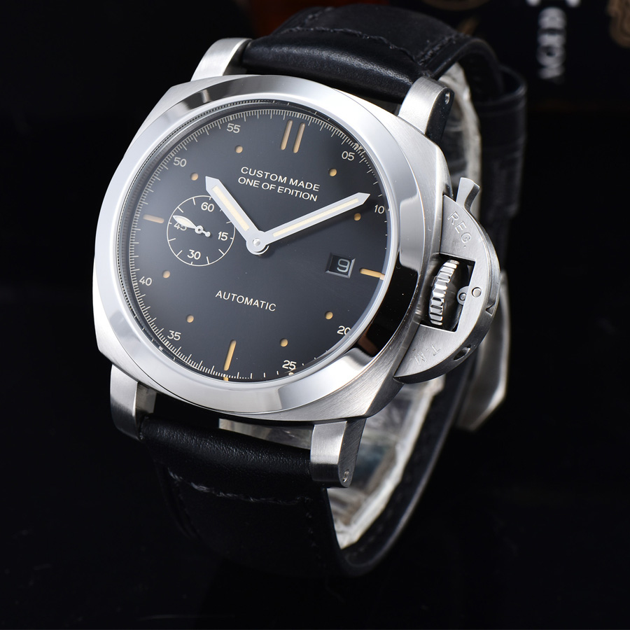 automatic mechanical watch watch men Luminous waterproof 316L Solid stainless steel date Leather 44MM NH66