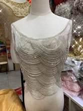 Franja frisada totalmente artesanal, fita frisada da pérola da guarnição do laço franja guarnição do laço tassle guarnição para o vestido nupcial do casamento/festa