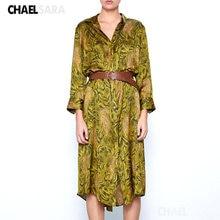 Женское винтажное платье рубашка с длинным рукавом элегантные