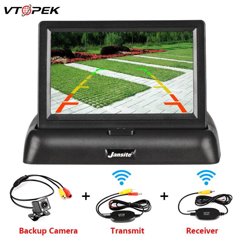 VTOPEK 4 3 Inch TFT LCD Car Monitor Foldable Monitor Display Reverse Camera Parking System for Car Rearview Monitors NTSC PAL