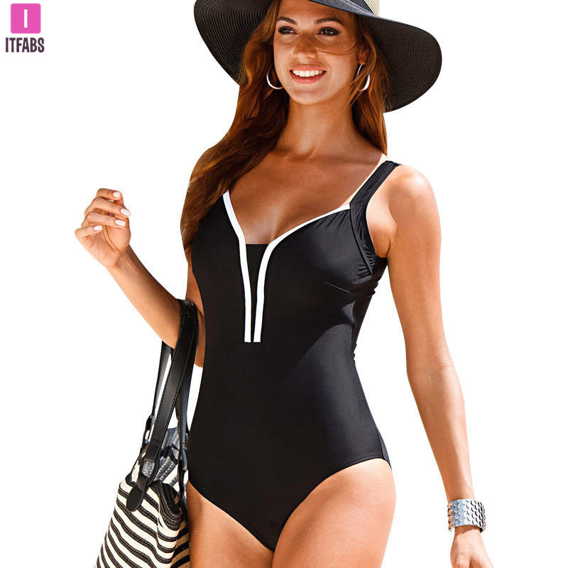 Sexy One Piece Swimsuit Women Solid Color Backless Swimwear Bathing Suit Monokini Push Up Padded Bra Bikini