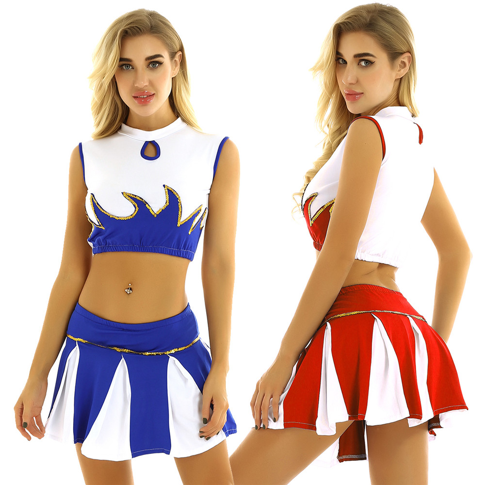 Women Adult Cheerleading Uniform Stage Performance Team Dance Costume Mock Neck Sleeveless Crop Top With Pleated Skirt Outfit