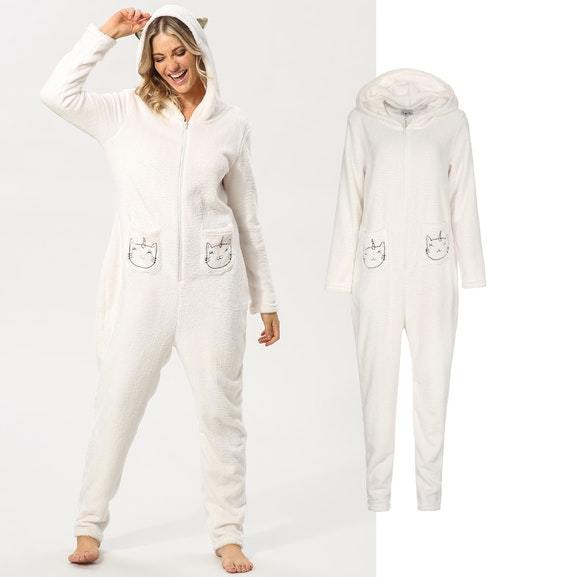 Cute White Cat Women Pajama Kigurumi Comfoatable Flannel Warm And  Soft  Onesies Pajamas Suit Causal Hooded Long Sleeve Homewear