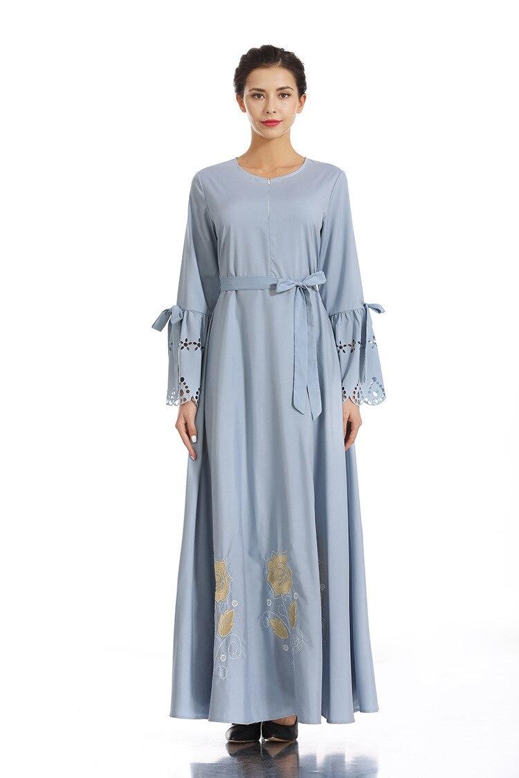 Brodé hijab robe Nation musulmane robe complète jupe Longuette Ash robe femme dinde elbise indonésie marocain eau abaya - 5