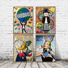 Street Graffiti Artwork Alec Monopolyingly Canvas Painting Poster Print Wall Art Prints Picture For Room Decoration Home Decor(China)