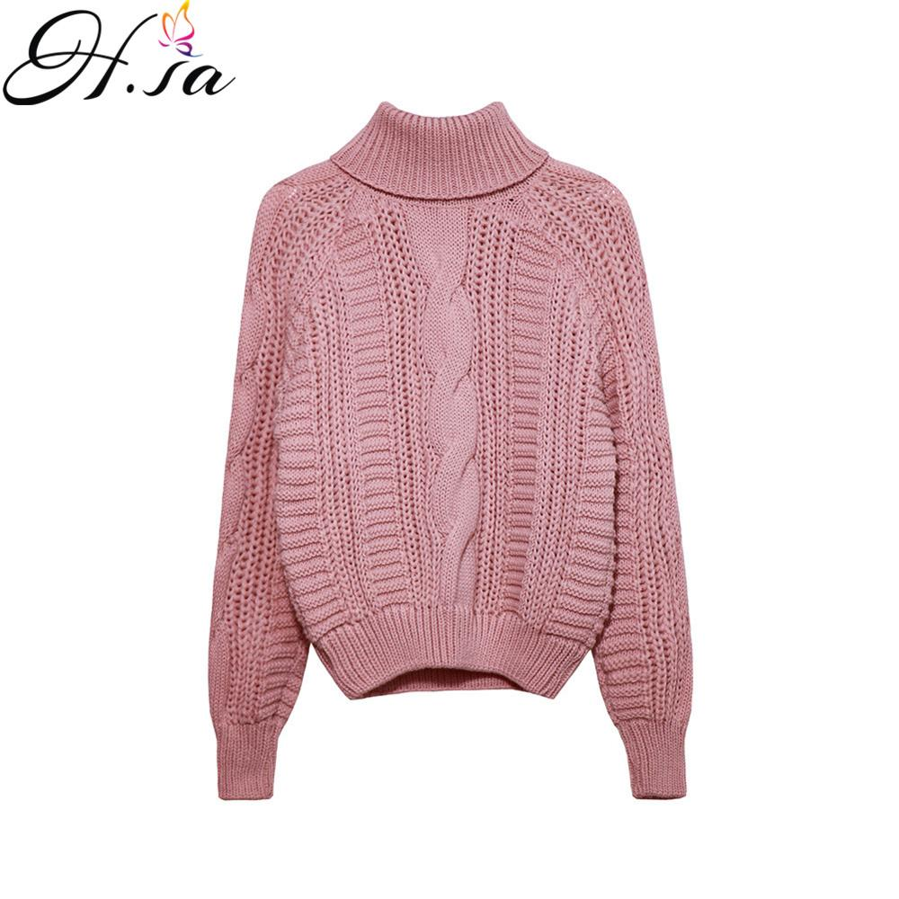 H.SA Women Winter Turtleneck Pullover And Sweaters Twisted Pink Knit Jumpers Autumn Winter Warm Thick Sweaters Pull Femme Tops