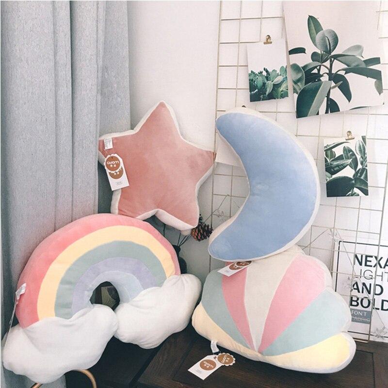 fantastico ceu travesseiro pelucia lua estrela cadente rainbow brinquedos de pelucia almofada shell bebe dormindo travesseiro