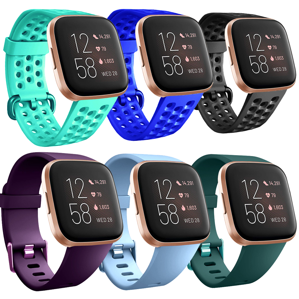 Replacement For Fitbit Versa Bands Black, Breathable Sport Watch Straps Compatible With Fitbit Versa/Versa Lite Edition/Versa 2