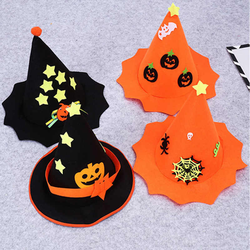 Pack of 6 Halloween Party Cosplay Hats Scary Pumpkin Tatoo Decoration