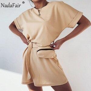 Женское Короткое платье Nadafair, повседневное уличное платье абрикосового цвета с коротким рукавом, круглым вырезом и поясом, цвет белый, черн...