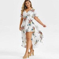 С цветочным принтом женские модельные туфли обувь короткий рукав летучая мышь Высокая Низкая Макси платье халат Размер больше Femme размера п...
