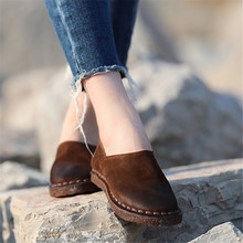Women Loafers Genuine Leather Flats Shoes Autumn Soft Bottom Leather Women Flats Handmade Lazy Shoes Casual Moccasins Women 135(China)