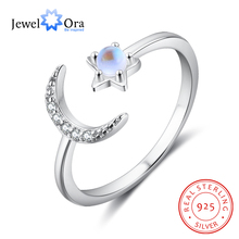 JewelOra 925 Sterling Silver Moonstone Open Adjustable Ring Female Jewelry Cubic Zirconia Stone Moon Star Rings for Women