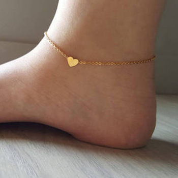 FENGLI Simple Fashion Trendy Foot Jewelry Cross Drop Anklet Heart Ankle Leg Bracelets Gift for Girl Statement Jewelry 2