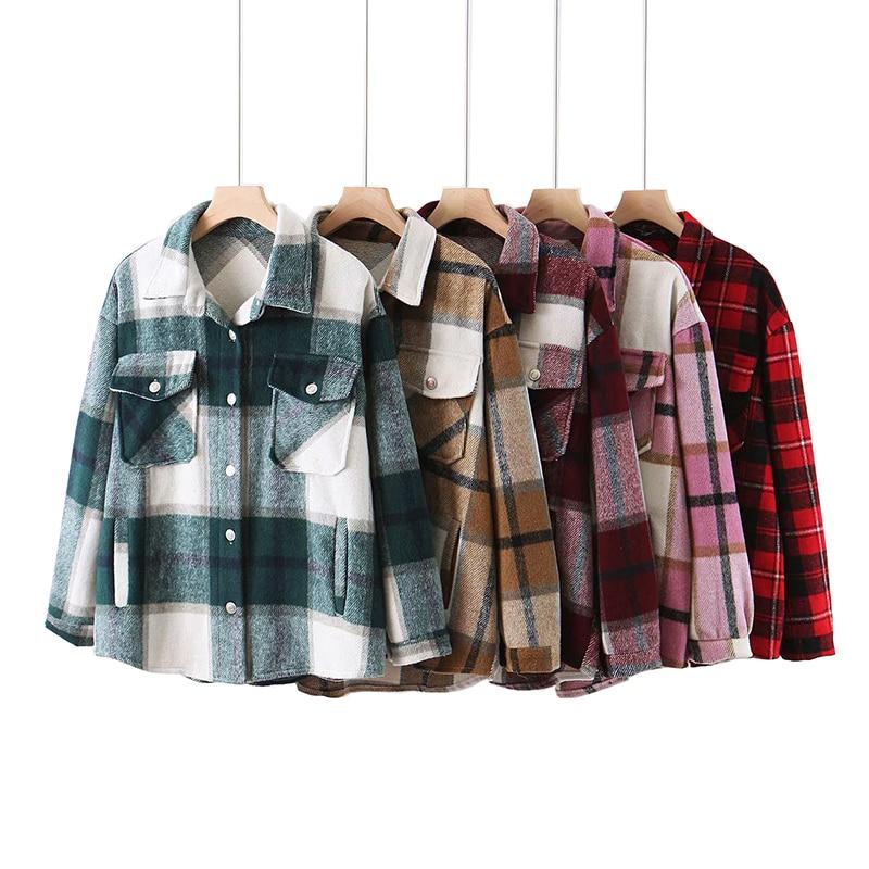 Plaid women oversize woolen shirts 2020 fashion ladies soft thick shirt party female elegant loose tops vintage girls chic shirt