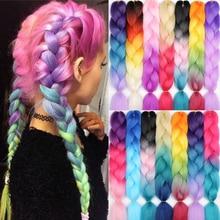 MERISIHAIR 24 inch Jumbo Braids Long Ombre Jumbo Synthetic Braiding Hair Crochet Blonde Pink Blue Grey Hair Extensions African