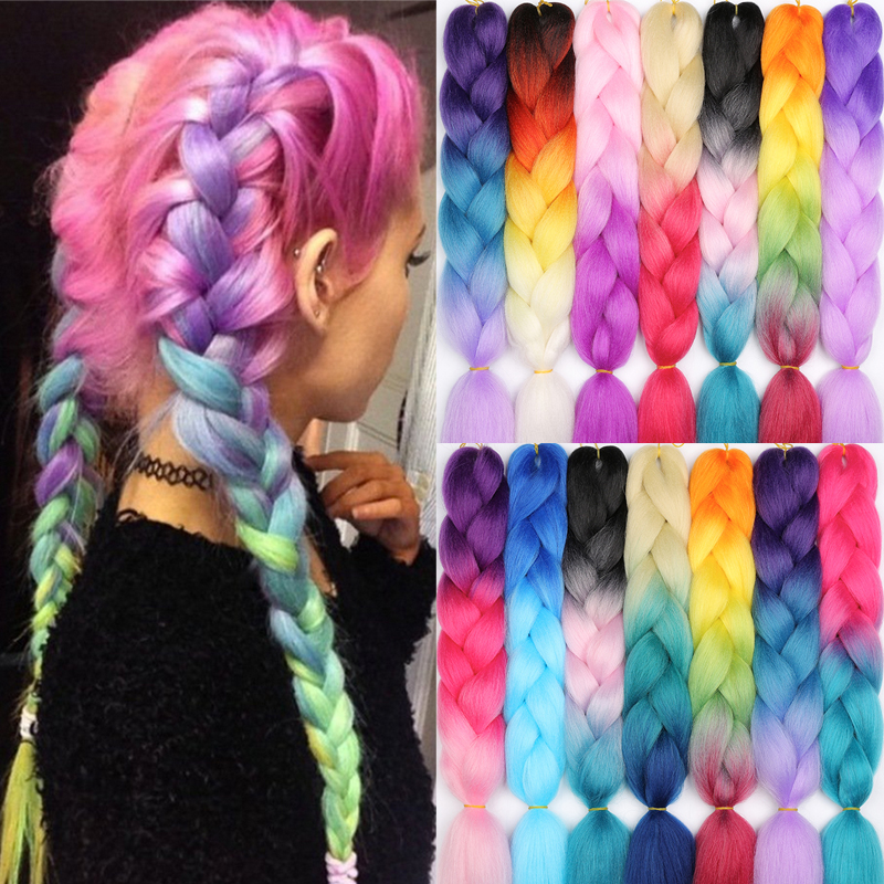 MERISIHAIR 24 inch Jumbo Braids Long Ombre Jumbo Synthetic Braiding Hair Crochet Blonde Pink Blue Grey Hair Extensions African