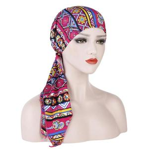 Image 5 - ผู้หญิงยืดBonnetมุสลิมTurbanหมวกBeanie Skullies Headscarf Wrap Chemo Ladyผ้าพันคอหมวกอิสลามหมวกสูญเสียผม