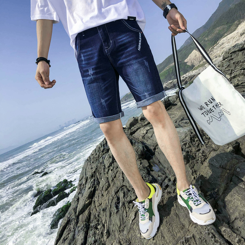 MEN'S Jeans Summer Elasticity Blue Knee-length Denim Shorts Teenager Fashion Casual Straight-Cut Shorts Korean-style Men's