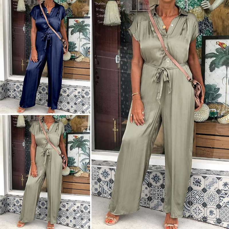 Celmia Women Elegant Long Jumpsuits Satin Rompers 2020 Summer Lapel Short Sleeve Solid Belted Plus Size Overalls Casual Playsuit