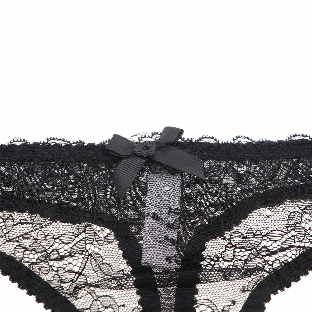 Varsbaby Sexy 3 Pcs Jarretels + Thongs + Kousen Kant Boog Transparante Ondergoed Sml Xl Zwart/Wit /Roze