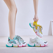 smile circle breathable mesh sneakers platform casual shoes for women 2018 autumn lace up mixed colors chunky sneakers 6CM Platform Women Chunky Rainbow Casual Sneakers Spring Autumn Sneakers Breathable Shoes Lace Up Comrfortable Women Sneakers