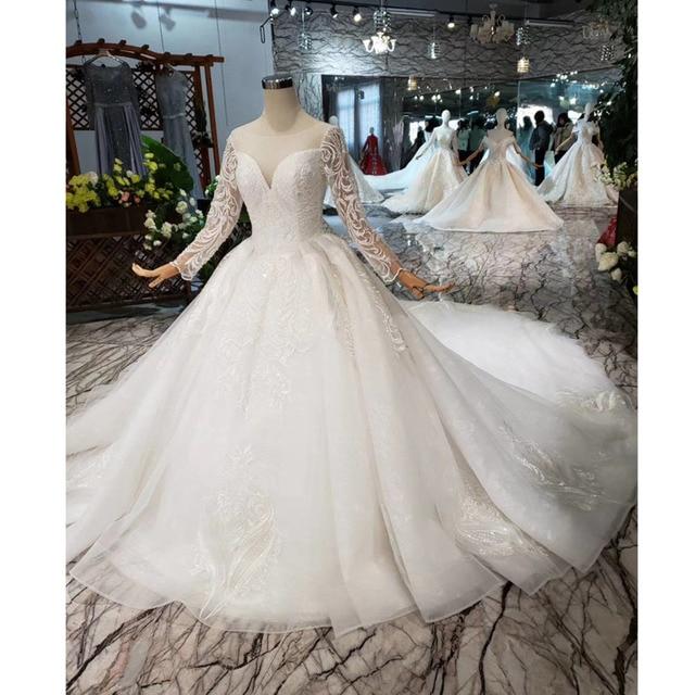 BGW HT562 europejski styl suknie ślubne z długim pociągiem Lace Up powrót luksusowa suknia ślubna 2020 New Fashion Design