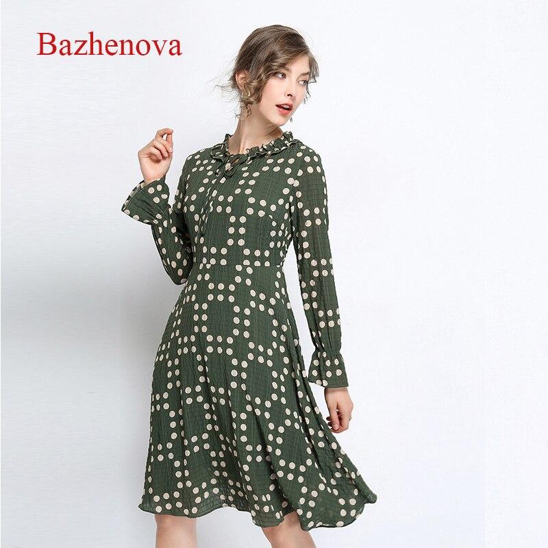 Bazhenova femmes Dot dentelle robe pour femme Sexy lâche mousseline de soie robes filles all-match grande taille chiffons dames robe R142