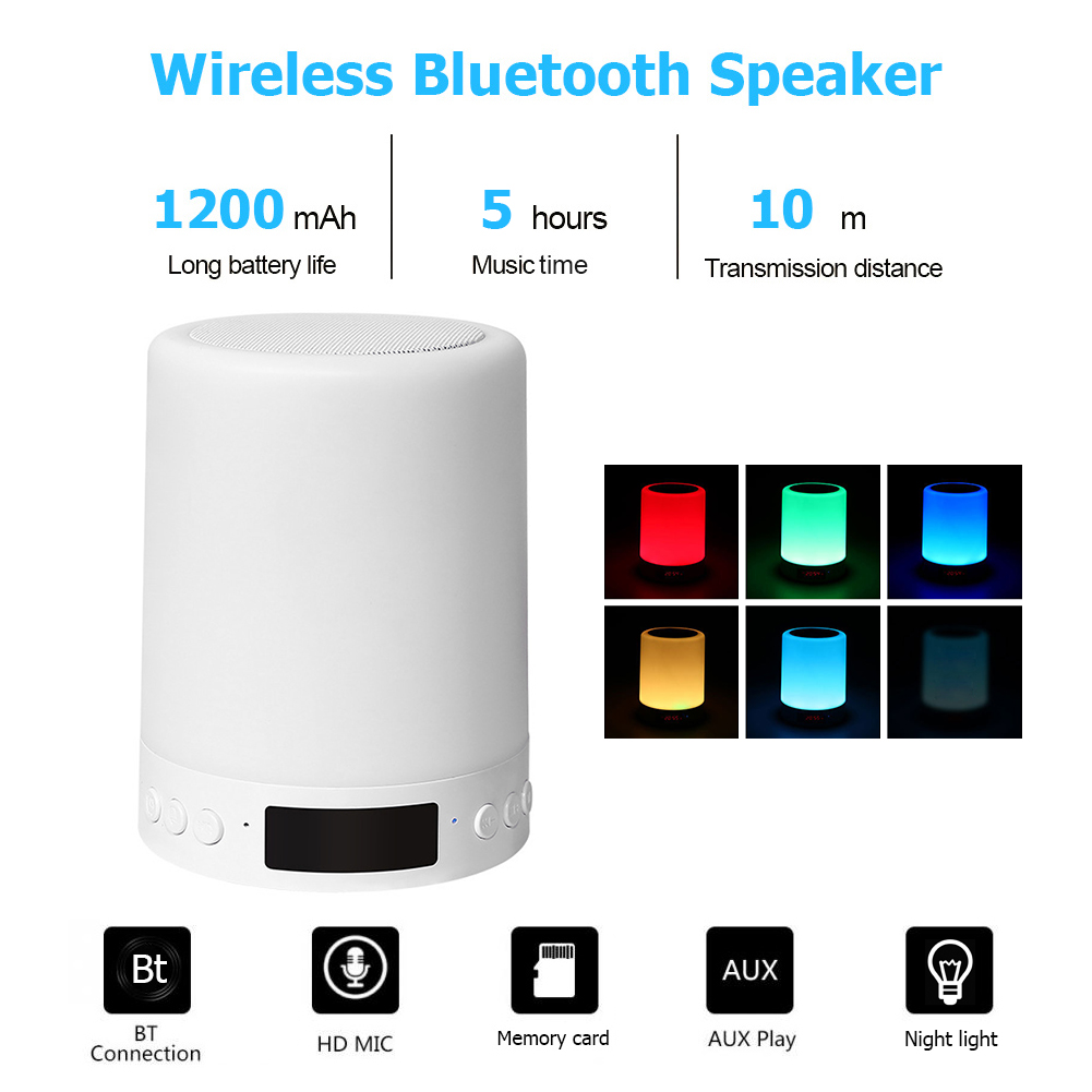 USB Rechargeable LED Table Night Lamp Touch Dimmable Portable Bluetooth Speaker Digital Alarm Clock Christmas Night Light Gift