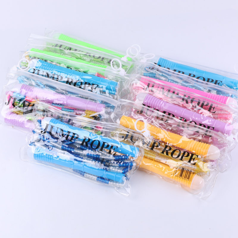 Plastic Skipping Rope Bamboo Joint Rope Soft Bamboo Joint Pattern Jump Rope Entertainment Fitness Color PVC Skipping Rope